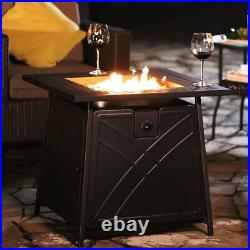 28Outdoor Propane Fire Pit Patio Heater Gas Table Square Fireplace Lava Stone