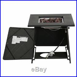 28Outdoor Propane Fire Pit Patio Heater Gas Table Square Fireplace With Glass