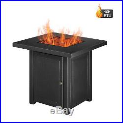 28-Inch Outdoor Propane Fire Pit Table 40BTU Gas Fireplace with Natural Lava Roc