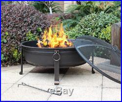 30 Outdoor Wood Burning Fireplace Steel Fire Pit Sturdy Design Decorative Rings