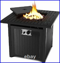 30 Propane Gas Fire Pit 50000 BTU Patio Fireplace Heater withLid Lava Rocks Cover