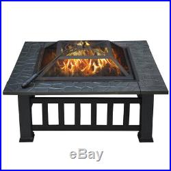 32'' Fire Pit Outdoor Square Stove BBQ Table Grill Wood Burning Fireplace Heater