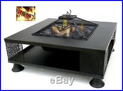 32 Square Fire Pit Outdoor Patio Metal Heater Deck Backyard Fireplace withCover