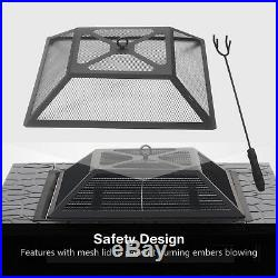 32 Square Metal Fire Pit Outdoor Patio Heater Fireplace Backyard Stove withCover