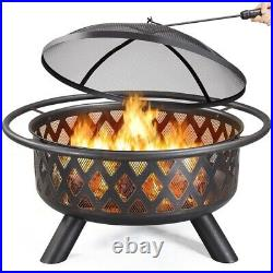 36in Outdooe Fire Pit Wood Burning Fireplace for Bonfire Patio Backyard Bronze