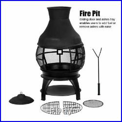 42 Chiminea Outdoor Fire Pit Fireplace Patio Firepit Wood Burning Heater Iron