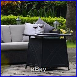 50,000BTU Propane Fire Pit Square Fireplace Fire Table Gas Patio With Rain Cover
