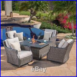 Patio Furniture With Fireplace.5 Piece Fireplace Patio Set W Amber Glass Stone Fire Pit Table