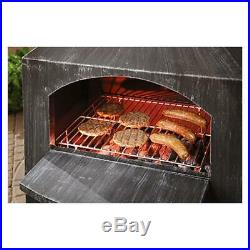 Backyard Outdoor Fire Cooking Steel Chiminey Patio Deck Wood Burning Fireplace