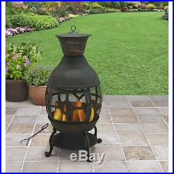 Better Homes And Gardens Durable Cast Iron Chiminea Antique Bronze Mesh Cover