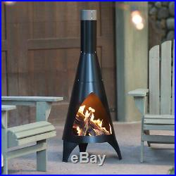 Black Steel Outdoor Camping Azteca Chiminea Modern Wood Firepit Fireplace Cone