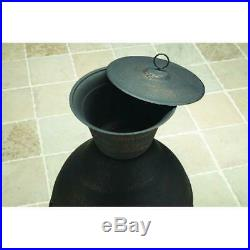 Cast Iron Chiminea Fire Pit Fireplace Outdoor Patio Heater Antique Wood Burning