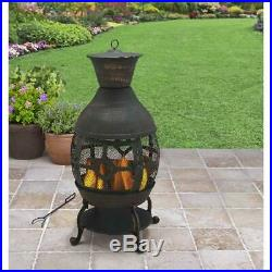 Chiminea Fireplace Cast Iron Outdoor Fire Pit Patio Heater Wood Burning Antique