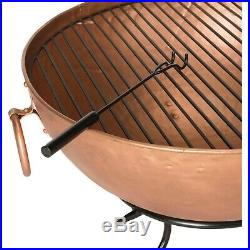 Copper Fire Pit Contemporary Garden Heater Wood Burner Fireplace Bowl Heating US