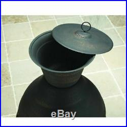 Fire Pit Chiminea Cast Iron Fireplace Patio Outdoor Antique Wood Burning Deck