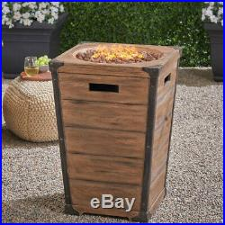 Fire Pit Column Outdoor Fireplace 29 Tall Large Propane Gas Brown Patio Heater