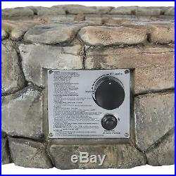 Fire Pit Outdoor Patio Fireplace Stone Propane Gas Firepit Heater W Cover