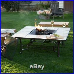 Fire Pit Table Log Wood Burning Outdoor Square Fireplace Large Outdoor Firepit