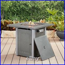 Fire Pit Table Propane Gas LP Square Steel Frame Patio Firepit Outdoor Fireplace
