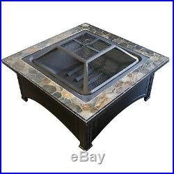 Fire Pit Table Wood Burning Fireplace Steel Frame Ceramic Tile Top Patio Outdoor