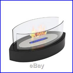 Fire Place Table Decor Propane Flame Heat Indoor Outdoor Black Glass Portable