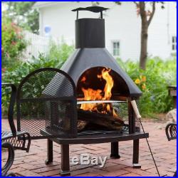 Fireplace Outdoor Large 4 FT Wood-burning Fire Pit with Racks for Logs Covered