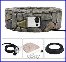 Gas Fire Pit Kit Propane Fireplace Ring Outdoor Patio Heater Burner Bowl Cover