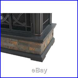 Heirloom 56 In. Steel And Slate Outdoor Fire Place Faux Stack Stone Sides New
