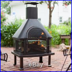 Large Outdoor Fireplace Wood Log Burning Food Cooker Chiminea Bronze Firepit New