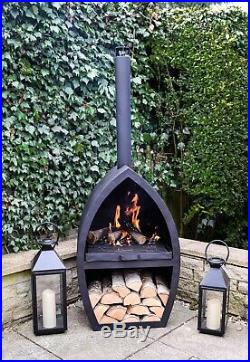 Modern Stylish Outdoor Poole Garden Fireplace in Black Iron H154