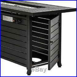 NEW 57 Rectangular Aluminum Gas Fire Pit Coffee Table w Cover Outdoor Fireplace