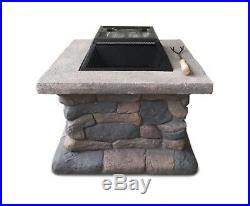 New Fire Pit Table Outdoor Bbq Grill Charcoal Camping Garden Rustic Fireplace
