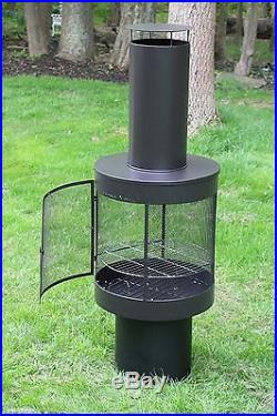 Oliver & Smith Large Iron Outdoor Round 360 Degree Patio Chiminea Fireplace NEW