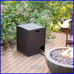 Outdoor Fire Bowl Propane Gas Stone Fireplace 36 in Tank Hideaway Table