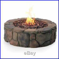 Outdoor Fire Pit Propane Gas 36 In Backyard Deck Stone Fireplace Heater W Cover