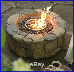 Outdoor Fire Pit Propane Gas Backyard Patio Deck Fireplace Heater Bowl With Cover