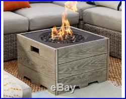 Outdoor Fire Pit Table Fireplace Square Propane Gas Patio Driftwood Garden Yard