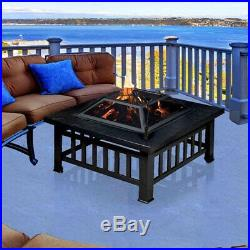 Outdoor Fire Pit Table Wood Burning Fireplace 32 in Square Black Metal Portable