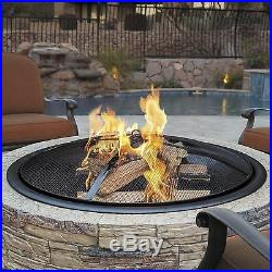 Outdoor Fire Pit Wood Burning Fireplace Backyard Patio Durable Stone Finish 35In