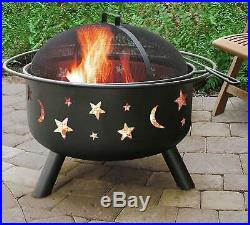 Outdoor Firepit Fireplace Chiminea Round Cooking Grate Backyard Stars Moons BLK