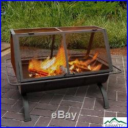 Outdoor Fireplace 35 in. Grill Wood Burning Barbecue Fire Pit Cooking Grate