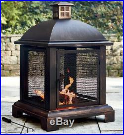 Outdoor Fireplace Fire Pit Steel Mesh Chiminea Patio Heater Wood Burning Firepit