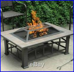 Outdoor Fireplace Fire Pit Table Stone Tile Top Wood Burning Patio Furniture NEW