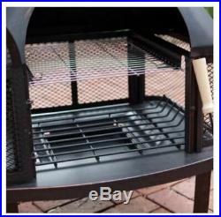 Outdoor Fireplace Fire Pit Wood Burning Chiminea Cover Rack Cooking Grate Yard