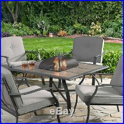 Outdoor Fireplace Table Wood Burning Fire Pit Square 45 inch Tile Steel Frame