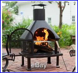 Outdoor Fireplace with Racks for Logs Wood Chiminea Burning Cover Backyard