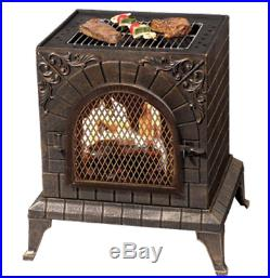 Outdoor Pizza Oven Wood Burning Fireplace Chimnea BBQ Grill Stove Patio Heater