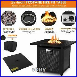 Outdoor Propane Gas Fire Pit Table Fireplace 2828 in Heater withWaterproof Cover