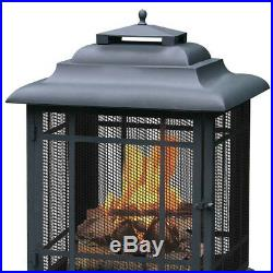 Pagoda Style Wood Burning Outdoor Firehouse Fire Pit Patio Backyard Fireplace N