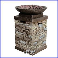Patio Deck Fire Pit Table Outdoor Gas Fireplace Bowl Propane Heater LP Furniture